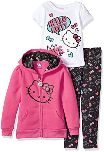 Hello Kitty Toddler Girls' 3 Piece Hooded Legging Set , Pink Pink, 2T (Clothes For Adults Kitty Hello)