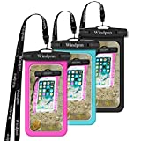 Windpnn 3 Pack Universal Cellphone Waterproof Case, Clear Transparent Dry Bag Pouch for Outdoor Activitie Swimming, Surfing, Fishing, Skiing, Boating, Beach(Black, Blue, Pink)