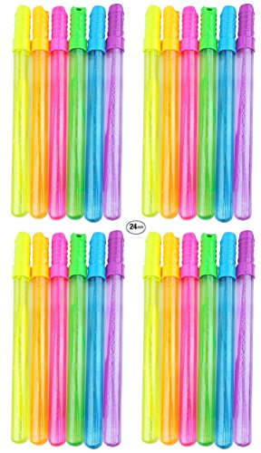 Holiday Decor Gifts Bubble Wands Party Packs | Assorted Color 4oz Bubble Sticks With Leak-Proof Tops | Summer Fun Activities (24 Pack) by Holiday Decor Gifts