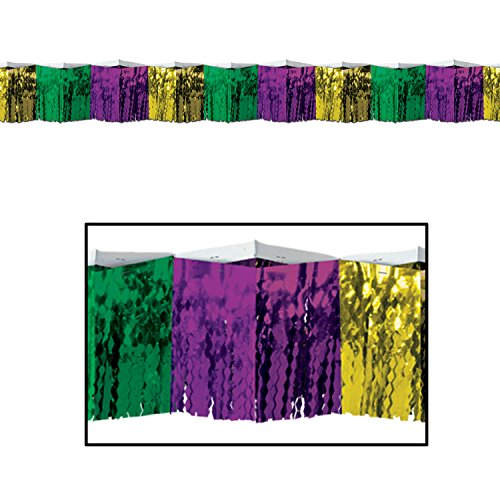 Beistle Metallic Fringe Drape Mardi Gras, Diamond Pattern Fringe Purple Green and Gold, Pack 6