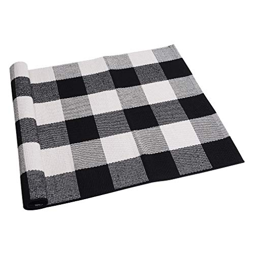 SEEKSEE 100% Cotton Plaid Rugs Black/White Checkered Plaid Rug Hand-Woven Buffalo Checkered Doormat Washable Porch Kitchen Area Rugs (23.5