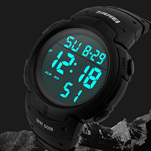 Men's Digital Sports Watch LED Screen Large Face Military ...