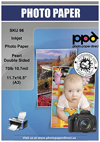 - PPD Inkjet Pearl Double Sided Super Premium Photo Paper A3 (11.7 x 16.5