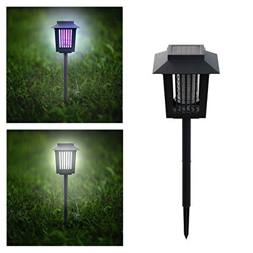 Pure Garden 50-173-MOS Solar Power UV Mosquito and Bug Zapper LED Light - Black (Black Flag 5 In 1 Bug Zapper)