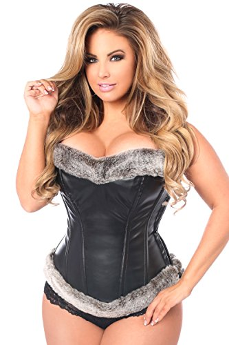 Daisy corsets Women's Top Drawer Steel Boned Faux Leather Fur Trimmed Corset, Black, (Fur Corset)