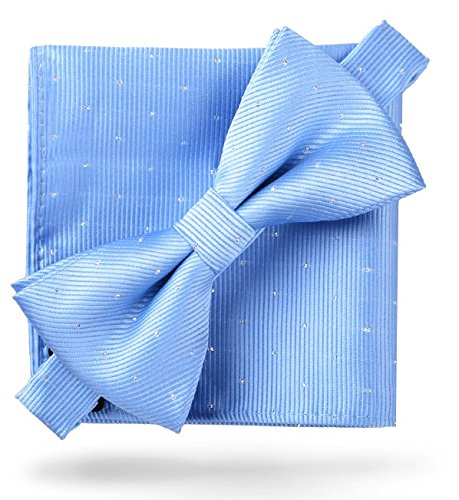 (Flairs New York Gentleman Essentials Bow Tie and Pocket Square Matching Set (Regular Bow Tie & Pocket Square Set, Baby Blue [Glitter Dot Print]))