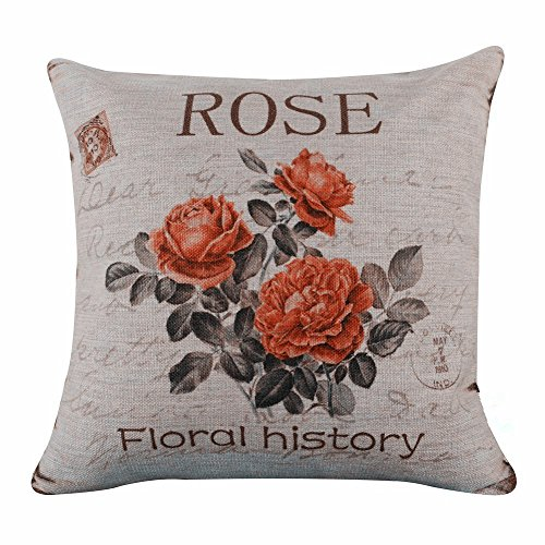 Acelive 20x20 Inches Cotton Linen Vintage Pink Rose Burlap Pillow Cover For Sofa Bedroom Living Room Square Valentine's Day Gift Mother's Day (Vintage Linen Burlap Roses)