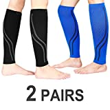 Udaily Calf Compression Sleeves (2 Pairs), Calf Support Leg Compression Socks for Shin Splint & Calf Pain Relief, Sports Running Recovery (Small/Medium, Black & Blue)