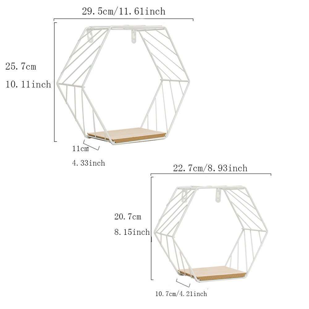 ZONYEO 2PCS White Hexagon Twill Wall Mounted Floating Shelves, Metal Wire & Wooden Storage Shelf Wall Decor for Living Room Bedroom