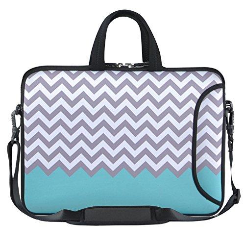 HESTECH 11.6-12.2 Inch Teal Chevron Neoprene Laptop Sleeve Bag Chromebook Case with Side Pocket, Carrying Handle, Removable Shoulder Strap