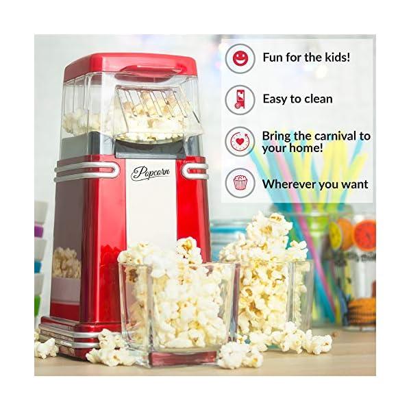 Gadgy ® Popcorn Machine | Retro Macchina Pop Corn Compatta | Aria Calda Senza Olio Grasso l Edizione Rossa Retrò 5