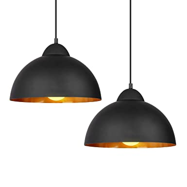 DECKEY Pendant Light,2 Pack,Ceiling Hanging Pendant Lights,Adjustable Height,1.1m,Vintage Classic Industrial Perforated Lampshade for Dinning Room Study Living Room,CE,ROHS,FCC Certification Black