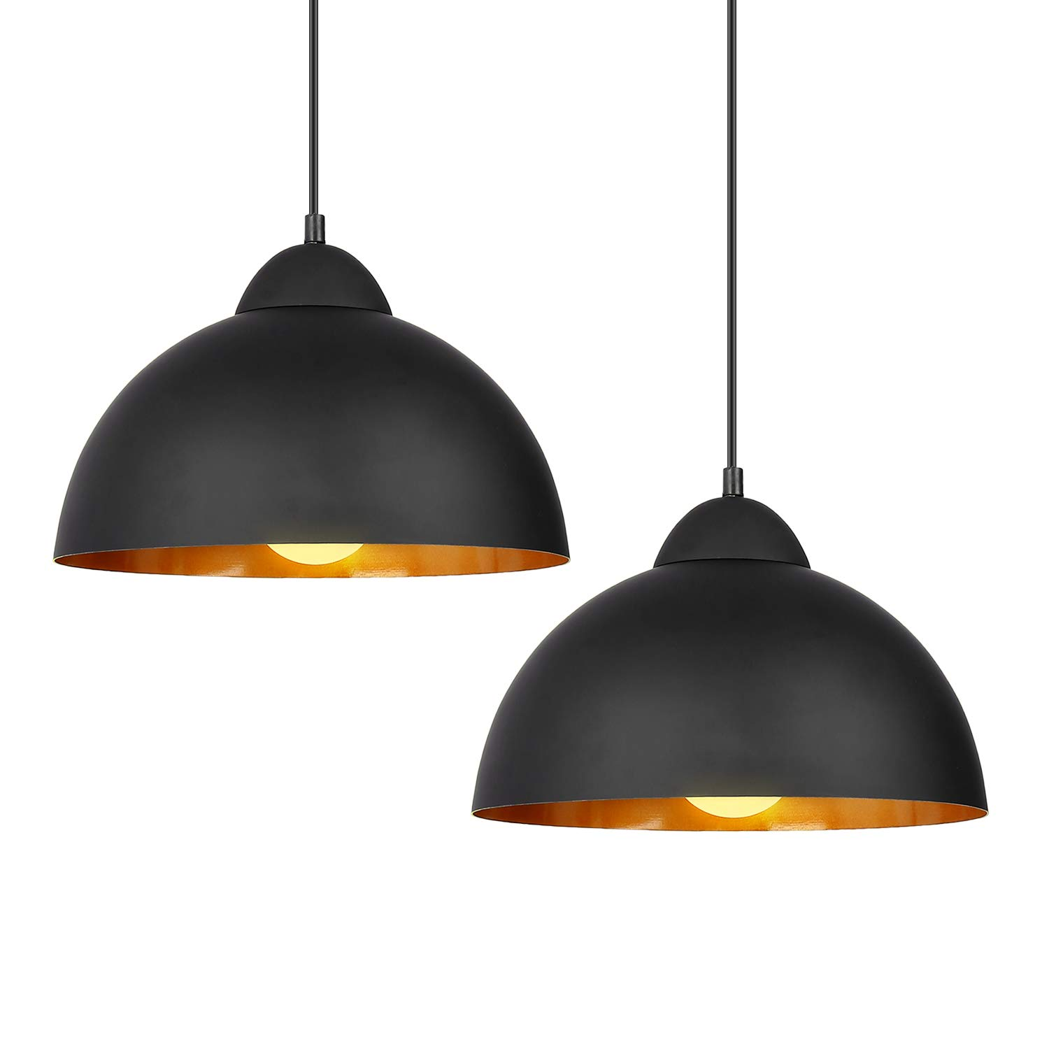 DECKEY Pendant Light,2 Pack,Ceiling Hanging Pendant Lights,Adjustable Height,1.1m,Vintage Classic Industrial Perforated Lampshade for Dinning Room/Study/Living Room,CE,ROHS,FCC Certification (Black)