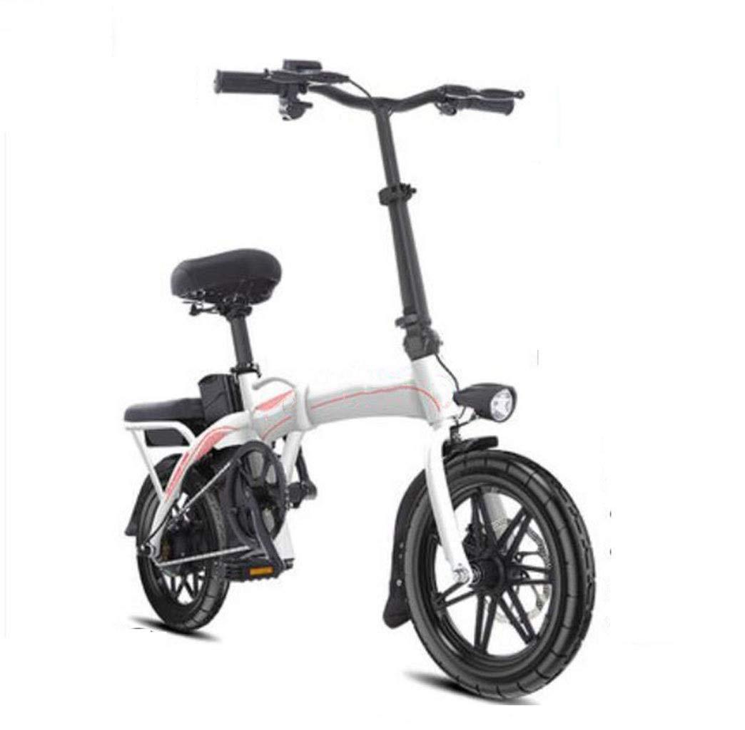 自転車折りたたみ電動自転車大人小型14インチ電動自転車原付け日常のスポーツやサイクリングに最適 (Color : 白い)