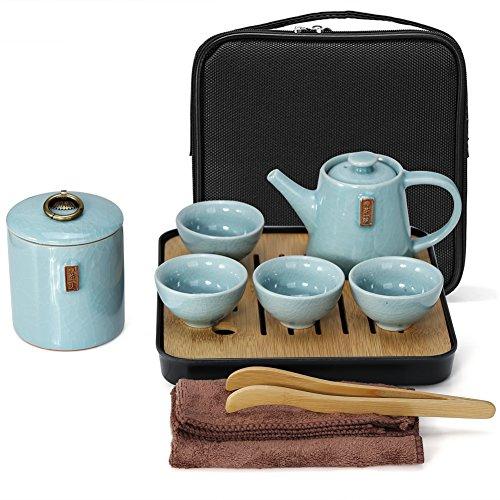Fuloon Chinese Kungfu Tea Set Portable Travel Ceramic Porcelain Tea Ware Teapot & Teacups & Tea Tray (C)
