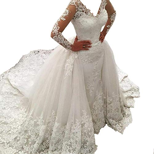 Fair Lady Illusion Vintage Lace Long Sleeve Wedding Dress for Bride 2019 Beads Mermiad Bridal Dresses Detachable Train Ivory