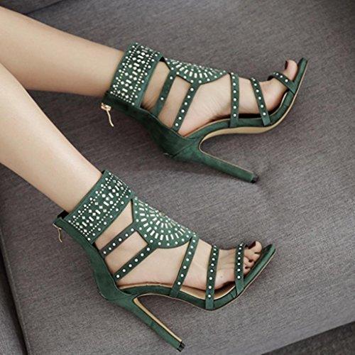 Cortas de Verde Nueva Transparente Zarupeng plástico Las de Atractivas Peep Mujeres Cremallera Sandalias Botas Toe de azpRxXFRn