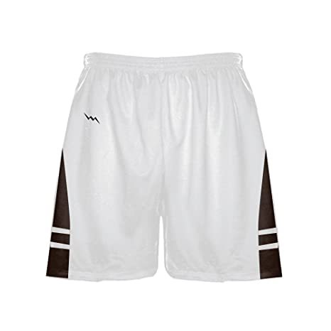 d207984321355 LightningWear Men's Athletic Shorts - Basketball Shorts - Lacrosse Shorts -  Soccer Shorts - White Dark Brown