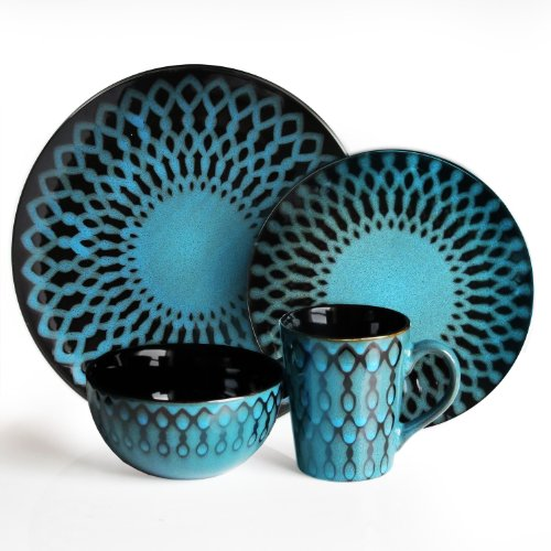 - American Atelier Sicily 16-Piece Dinnerware Set, Blue
