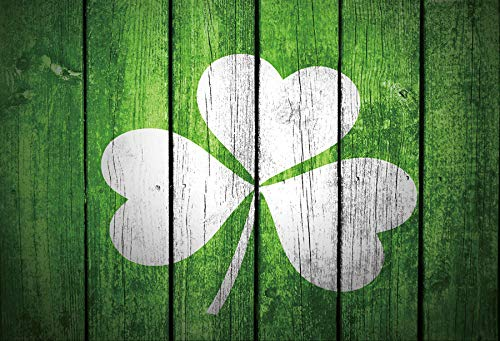 Baocicco 7x5ft Happy St.Patrick's Day Big White Painted Lucky Green Four Leaf Irish Clover Shamrock All Irish Green Painted Vertical Wood Plank Board Fence Wall Photography Backdrop Background