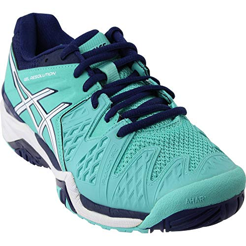 Shoes Fencing (ASICS Women's GEL-Resolution 6 Tennis Shoe, Pool Blue/White/Indigo Blue, 11.5 M US)