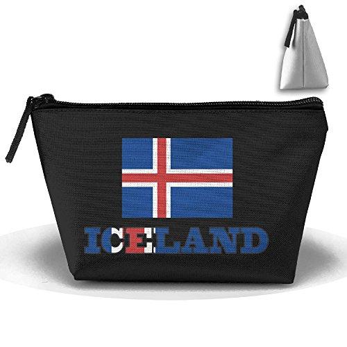 HTSS Iceland Flag Iceland Wordart Portable Makeup Receive Bag Storage Large Capacity Bags Hand Bag Travel Wash Bag For Travel With Hanging Zipper