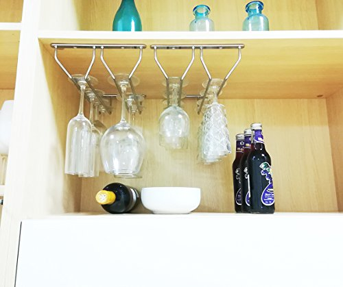 Wine Glass Holder Stemware Rack Under Cabinet Stainless Steel Chrome Finish 4 Racks Up to 16 Glasses by Meiliwang