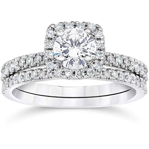 Tdw Prong Set - 5/8 Ct TDW Diamond Cushion Halo Engagement Wedding Ring Set White Gold - Size 7