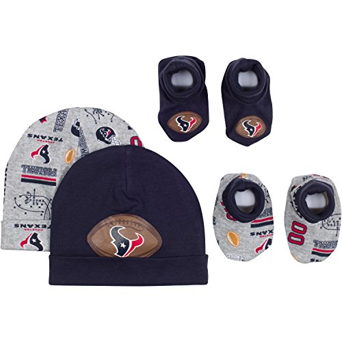 NFL Houston Texans 2 Baby Caps and 2 Booties Set, 0-6 Months, Navy/Gray