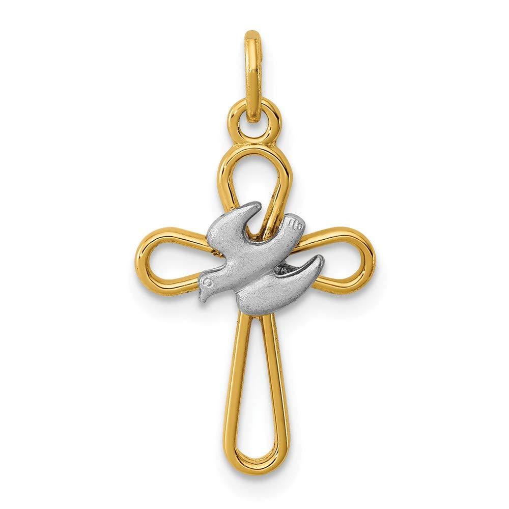 925スターリングシルバー18 Kゴールド調and Holy Spirit Cross With Doveチャーム( 20 mm X 13 mm   B0797FX4L1