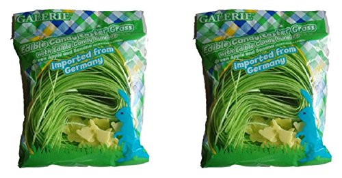 Edible Grass (Edible Green Candy Easter Grass with Yellow Bunnies - 2 Pack)