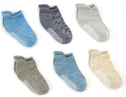Toddler Boys Ankle Cushion Cotton Socks, Non-Slip for Active Baby,2T/3T/4T(6pp)