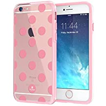 """iPhone 6 6s Plus Case 5.5"""", True Color® Medium Polka Dots Printed on Clear Transparent Hybrid Cover Hard + Soft Slim Thin Durable Protective Shockproof TPU Bumper Cover - Pink"""