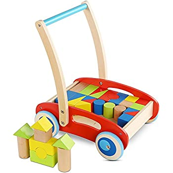 Wooden Baby Learning Walker Toddler Toys for 1 Year Old Blocks and Roll Cart Push and Pull Toy (33pcs)