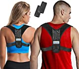 Posture Corrector for Women & Men + Bonus Stretching Band, Keychain, Adjustable Clavicle