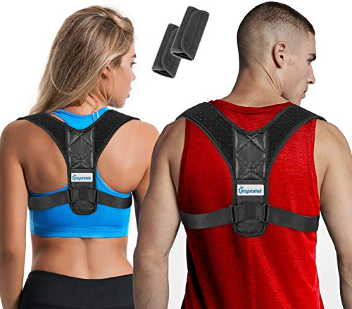 Posture Corrector for Women & Men + Underarm Pads, Adjustable Clavicle Brace Perfect for Shoulder Support, Upper Back Correction, Medical Kyphosis Trainer Under Clothes by Inspiratek (Best Back Brace For Posture Correction)