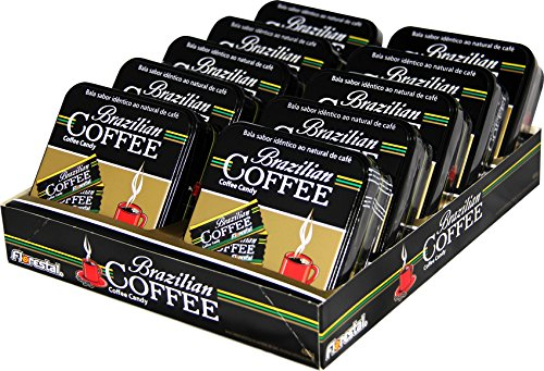 Brazilian Coffee Candy Display with 10 Refillable Tins (40g each tin) by Brazilian Coffee Candy