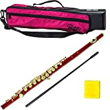 PAITITI Red Plated Gold Key Close Hole C Flute with 1 Year Manufacturer Warranty, Guarantee Top Quality Sound with Lightweight Case, Case Cover, Cleaning Rod, Cloth, Joint Grease and Screw Driver