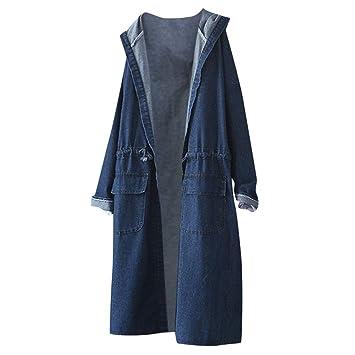 Amazon.com: Chaqueta de mezclilla con capucha para mujer con ...