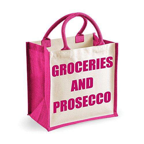 Medium Jute Bag Lebensmittel und Prosecco Pink Tasche Mütter Tag Neue Mama Geburtstag Weihnachtsgeschenk