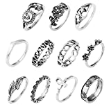 11pcs One Set Sterling Silver Plated Sun/Rose/leaf/Flower charm Women joint Band Ring