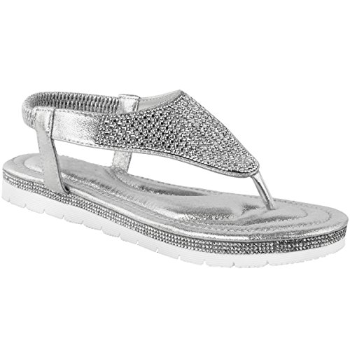Heelberry® Womens Ladies Flat Low Wedge Diamante Summer Sandals Embellished Low Heel Size Silver Metallic TS5Xt3