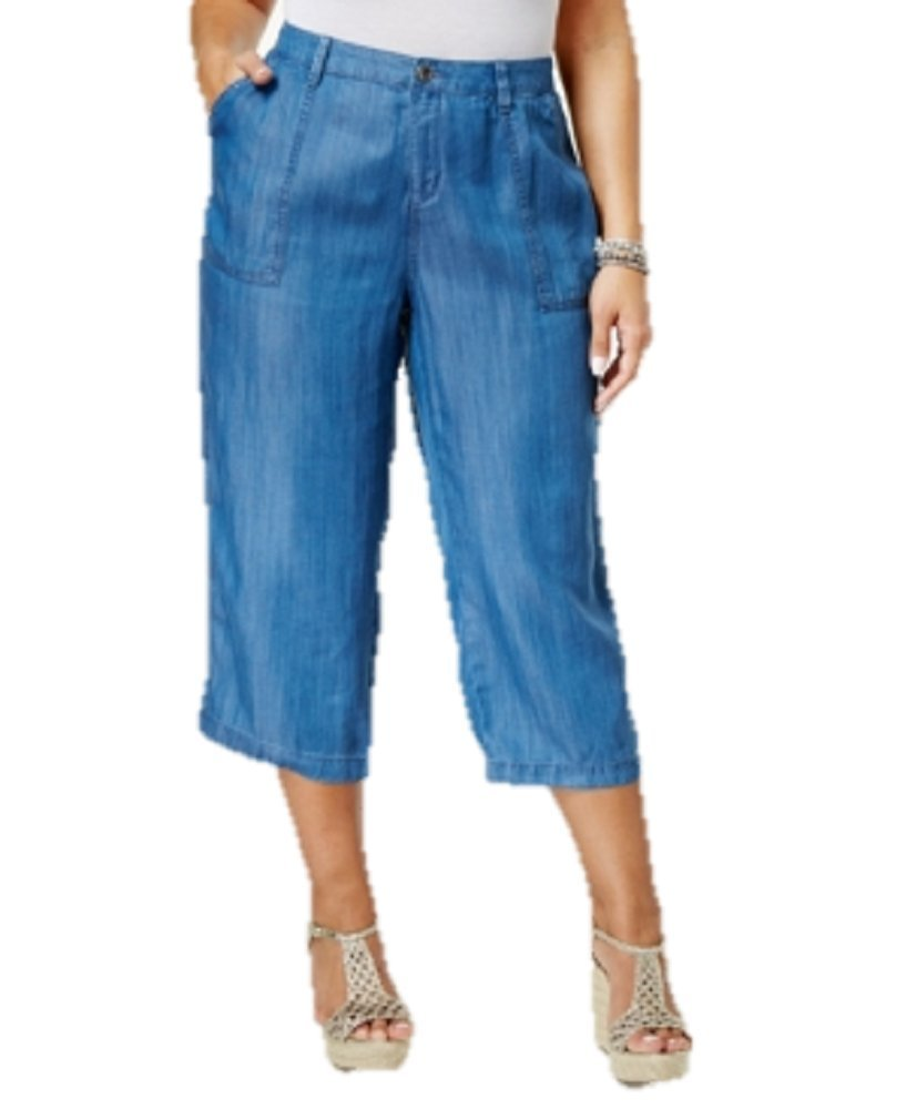 Style & Co. Plus Size Chambray Wide-Leg Cropped Pants (16W) by Style & Co.