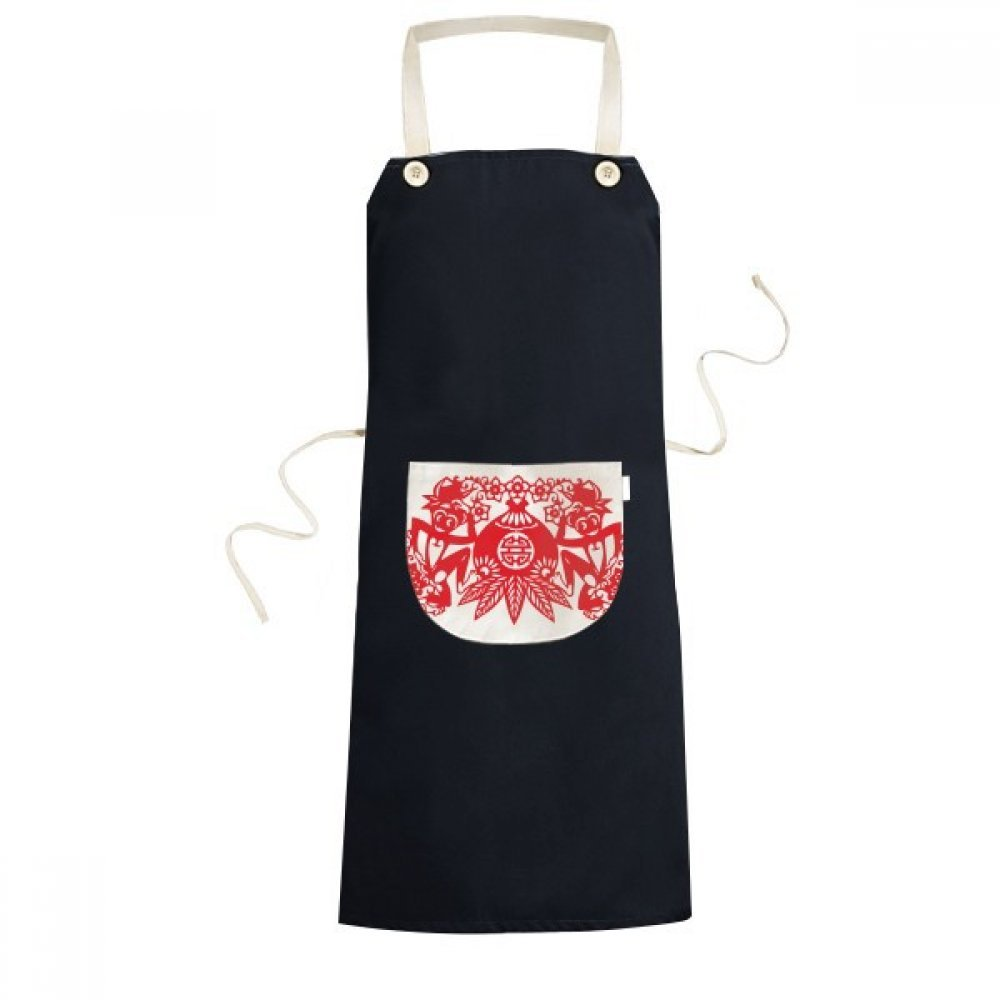 cold master DIY China Chinese Zodiac Monkey Peach Papercut Traditional Culture Art Window Flowers Cooking Kitchen Black Bib Aprons With Pocket for Women Men Chef Gifts