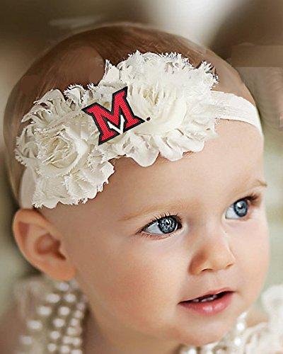 Future Tailgater Miami Ohio Redhawks Baby/Toddler Shabby Flower Hair Bow Headband (Toddler/ 16