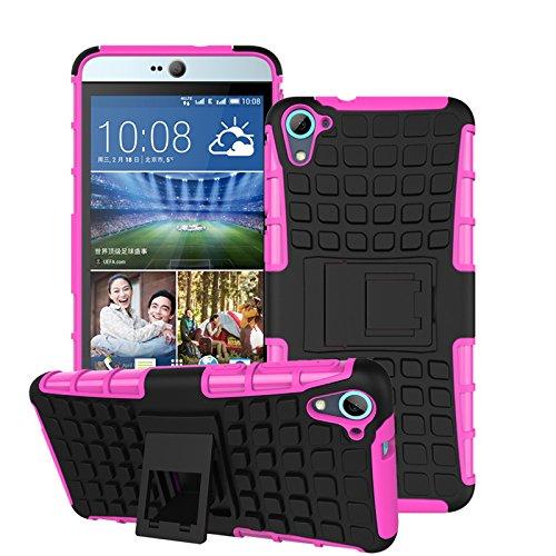 HTC Desire 826 dual Funda,COOLKE Duro resistente Choque Heavy Duty Case Hybrid Outdoor Cover case Bumper protección Funda Para HTC Desire 826 dual sim - Blanco Rosa