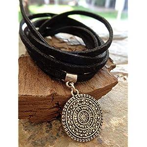 ★ AMULET BOHO VELOR CHOKER ★ collar wrap negro | DeHippies.com