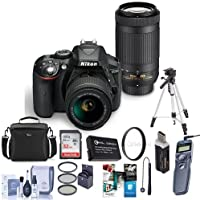 Nikon D5300 DX-Format DSLR Kit, Black w/AF-P DX NIKKOR 18-55mm f/3.5-5.6G VR and AF-P DX NIKKOR 70-300mm f/4.5-6.3G ED - Bundle with Camera Case, 32GB SDHC Card, Tripod, Software Package and More