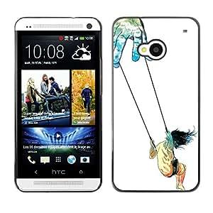 Shell-Star Arte & diseño plástico duro Fundas Cover Cubre Hard Case Cover para HTC One M7 ( Symbolic Art Trust Life Swing Girl God Hands )
