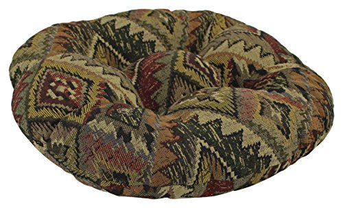 Blazing Needles Round Patterned Tapestry Tufted Footstool Cushion, 18